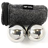 "Top Chi® 1 lb. 1.5"" Solid Stainless Steel Baoding Balls with Carry Pouch. Non-Chiming Chinese Health Balls for Hand Therapy Exercise and Stress Relief"