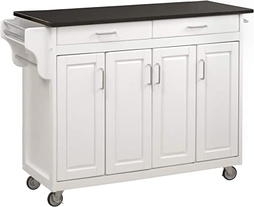 Home Styles Mobile Create-a-Cart White Finish Four Door Cabinet Kitchen Cart