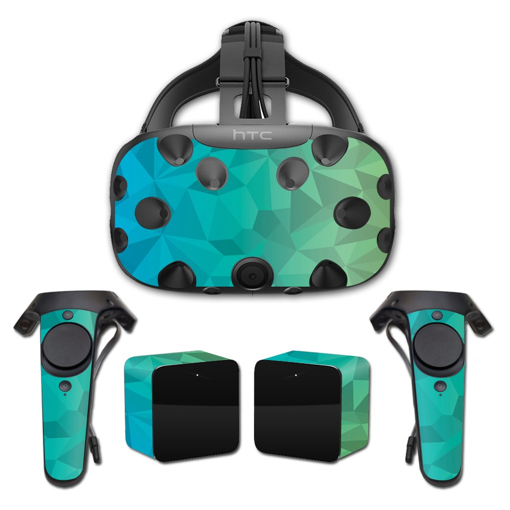 MightySkins Skin for HTC Vive Full Coverage - Blue Green Polygon | Protective, Durable, and Unique Vinyl Decal wrap Cover | Easy to Apply, Remove, and Change Styles | Made in The USA