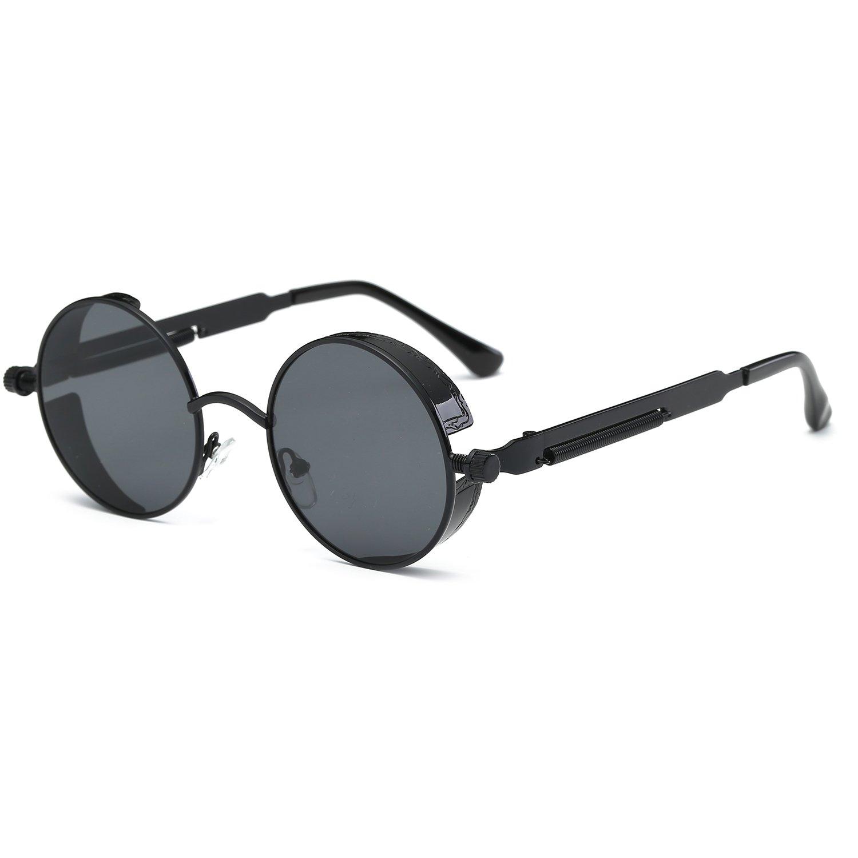 CVOO New Vintage Steam Punk Sunglasses Fashion Round Mirrored Retro Eyewear PDcrXjv