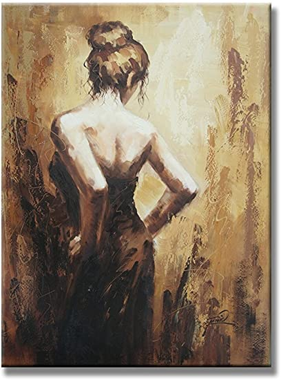 UAC WALL ARTS Hand Painted Oil Painting Sexy Dancing Lady Back Figurative by Hand Canvas Wall Art for Living Room Stretched Wall Decor Ready to Hang 20x24Inch