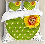 Cactus Decor King Size Duvet Cover Set by Ambesonne, Thorny Cactus in the Shape of Heart and Yellow Flower Opuntia Spikes, Decorative 3 Piece Bedding Set with 2 Pillow Shams, Green Yellow Orange