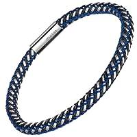 Murtoo Herren Armband Edelstahl Echtleder Armband schwarz|braun geflochten mit Magnet Verschluss(22cm)