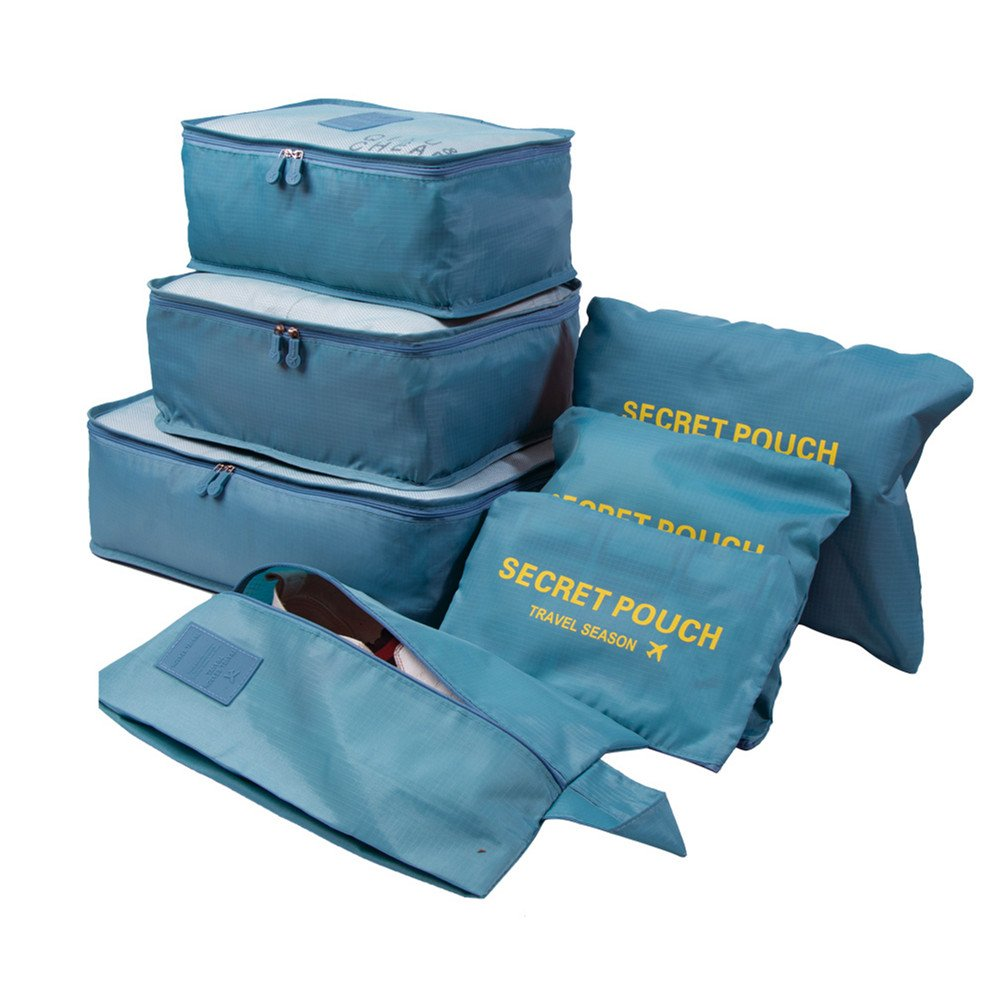 7 Set Travel Storage Bags Multi-functional Clothing Sorting Packages,Travel Packing Pouches, Luggage Organizer Pouch Waterproof (light blue)