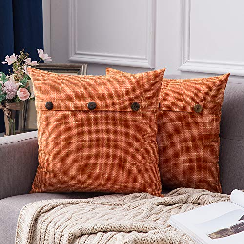 MIULEE Set of 2 Decorative Linen Throw Pillow Covers Cushion Case Triple Button Vintage Farmhouse Pillowcase for Couch Sofa Bed 18 x 18 Inch 45 x 45 cm Orange