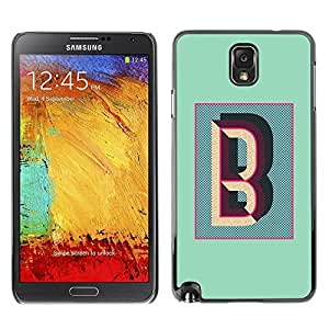Be Good Phone Accessory // Dura Cáscara cubierta Protectora Caso Carcasa Funda de Protección para Samsung Note 3 N9000 N9002 N9005 // B Letter Teal Calligraphy Initials Alphabet