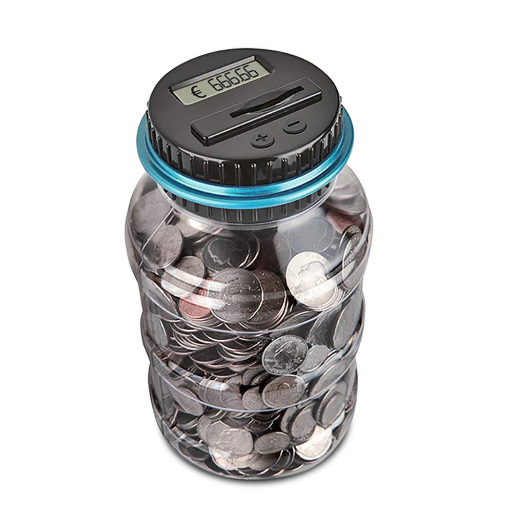 MINGWEN Salvadanaio Conteggio Digitale Banca delle Monete Scatola di Risparmio di Denaro Creativo Jar Bank Display LCD Risparmio di Monete Regalo per Bambini (EUR)