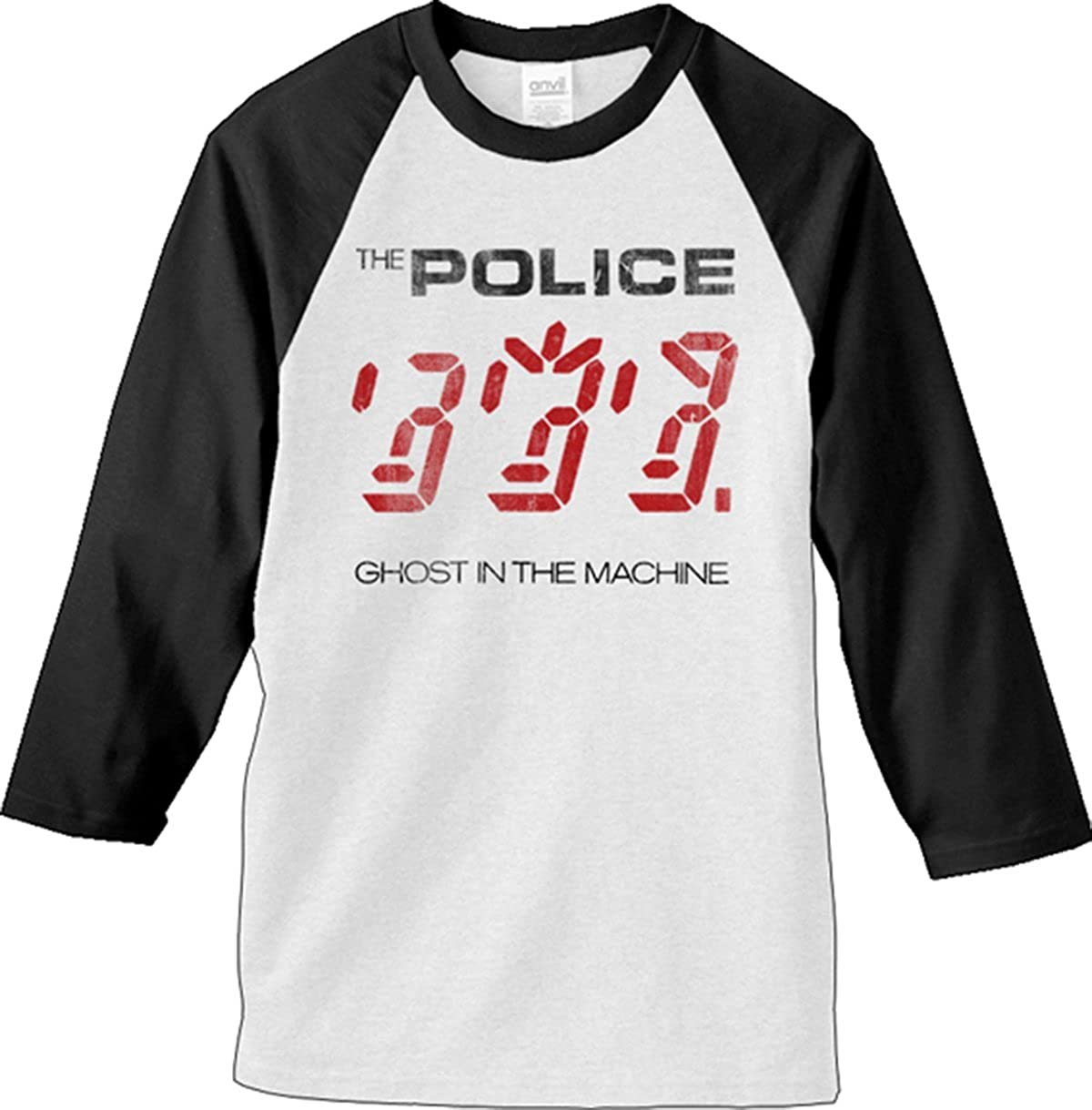 21f16ac45 Amazon.com: RockWaresUSA Police 'Ghost In The Machine' White Baseball  Jersey T-Shirt: Clothing
