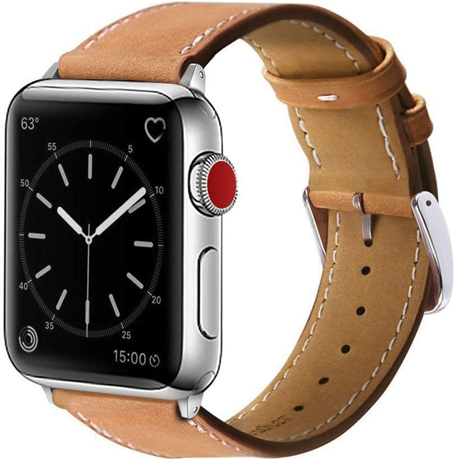 Marge Plus Compatible with Apple Watch Band 44mm 42mm 40mm 38mm, Genuine Leather Replacement Band for iWatch Series 6 5 4 3 2 1, SE (Brown/Silver, 40mm/38mm)