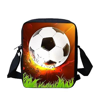 Football Messenger Bag for School Black Cross Body Bags for Boys Travel Satchel Bag