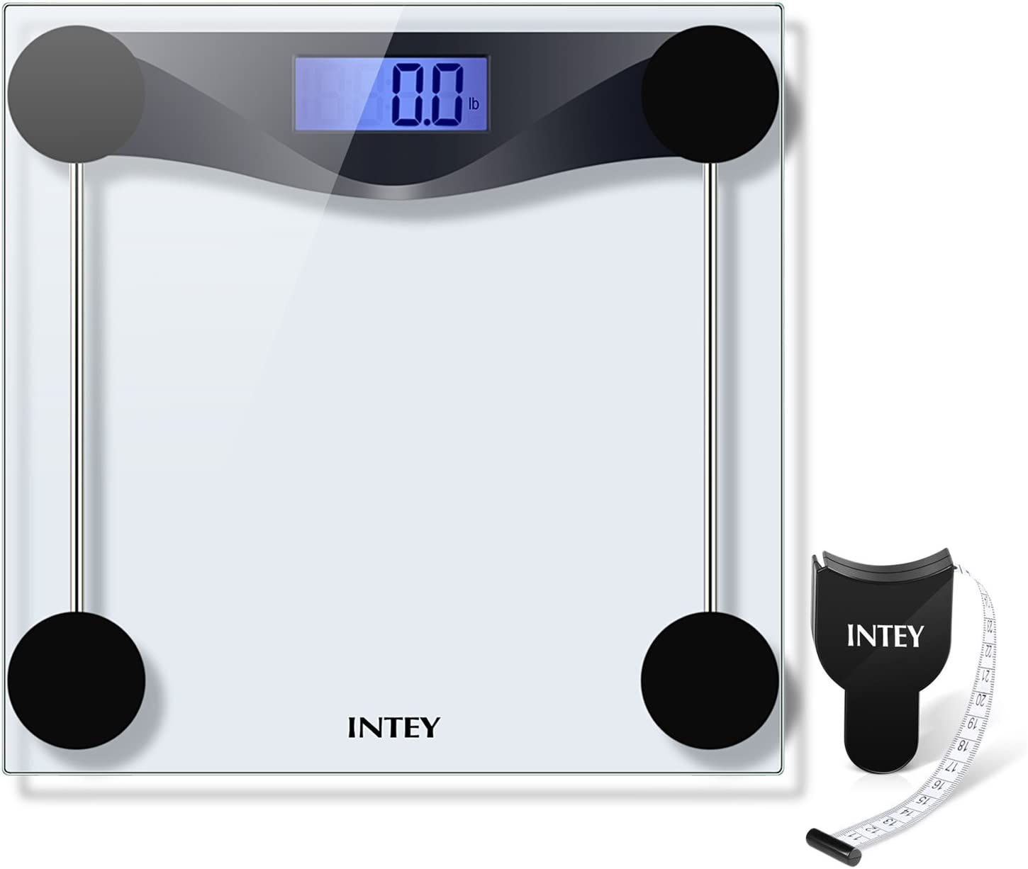 INTEY Weight Scale Digital Scale Convert kg to lbs Bathroom Scales Tempered Glass 400 lbs Bonus Body Tape Measure
