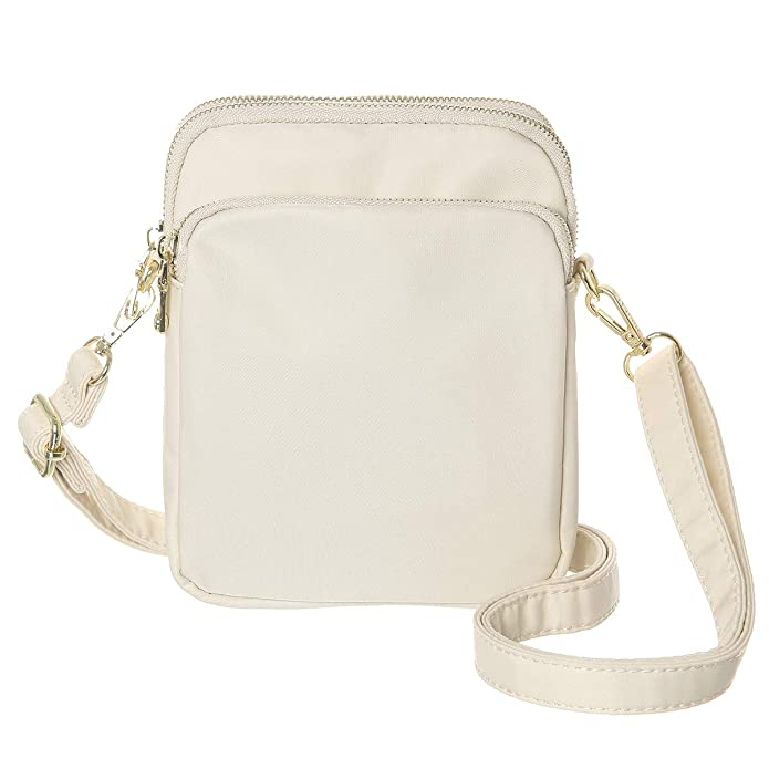 MINICAT RFID Blocking Travel Small Crossbody Bag Nylon Mini Crossbody Purse Handbag For Women (Beige) best RFID travel purses