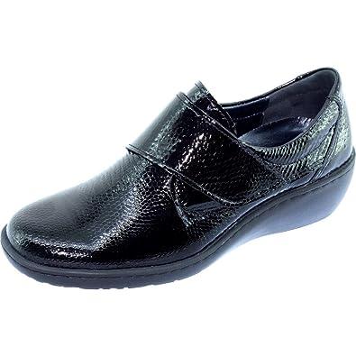 b34410284f4a5c Aerobics Olean Derby Velcro Compensé Souple Chaussures Grande Largeur Femme  Confort Pieds Sensibles Marque Cuir Vernis