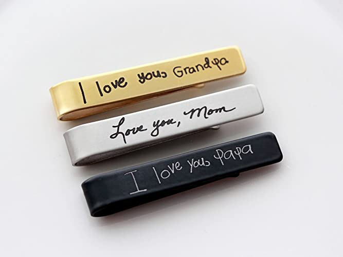 3d7ac77abf0a Amazon.com: Handwriting Tie Clip - Custom Engraved Tie Bar Personalized  Gift for Men Groomsmen Gifts Custom Tie Bar Engraved Tie Clip Handwriting  Gift: ...