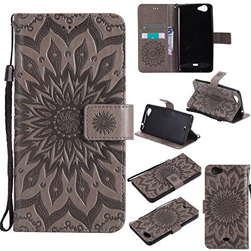 Ivy Slide (Slide2 Wallet Case,IVY [Sun Flower] Slide 2 PU Leather Cover Wallet Phone Case For Wiko Slide 2 - Gray)