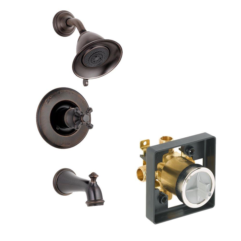 Venetian Bronze Venetian Bronze Delta Delta KTSDVI-T14455-H795-RB Victorian Tub//Shower Kit Pressure-Balance Single-Function Cartridge with Metal Cross Handle