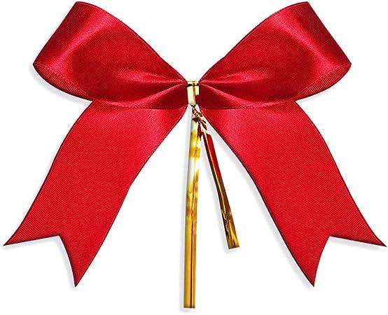 Gudotra 100 pcs Arc de Noël Rouge Noeud pour Sapin de Noël Arbre