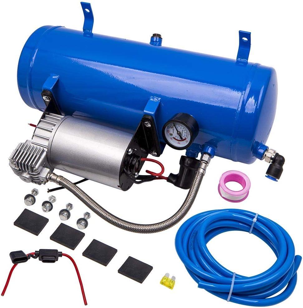 maXpeedingrods Compresor de Aire 150 PSI 6L con Manguera Compresor Aire Electrico Silencioso Bomba Inflador Neumáticos para Coches Tren Camión RV Autocaravana Vehículos de 12V【EU STOCK】