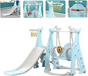 Toddler Climber and Swing Set Slide Swing Combo 3 in 1 Climber Sliding Playset w/Basketball Hoop for Kids Safe Slide Swing (Blue)