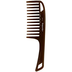 Hair Comb- a Handle Hair Comb infused with Natural Essence Oil by Majestik+, Wide Tooth, Brown, Detangling Comb, With Free Bespoke PVC Product Pouch (MPO-021)