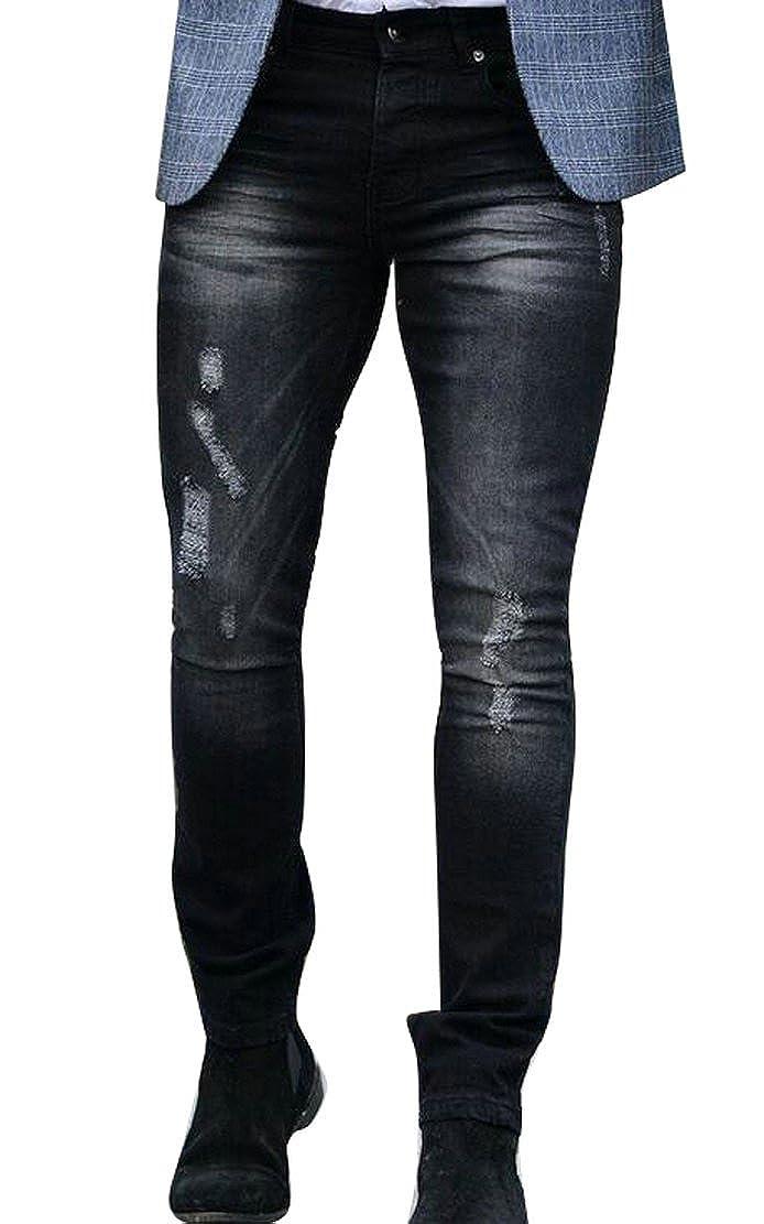 WAWAYA Mens Fashion Ripped Distressed Denim Slim Fit Skinny Jeans Pants