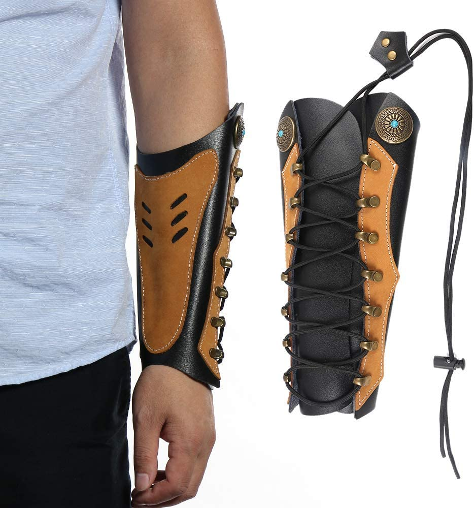 Cow Leather Arm Guard Archery Adjustable 2 Straps Bow Hunting Wrist Protector