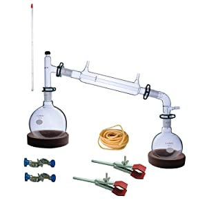 Laboy Glass Revised Simple Distillation Apparatus Kit Distilling Set with 24/40 Joints Organic Chemistry Lab Glassware Equipment Lab Clamps Included