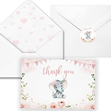 4  x 6-Blank inside,Include Stickers Pink Elephant Card 40 Elephant Baby Shower Thank You Card with Envelopes-Pink Watercolor Elephant Baby Girl Cards