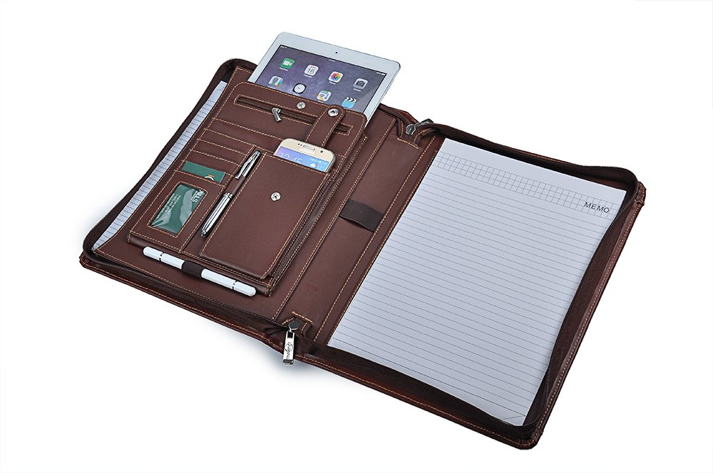 Leather Portfolio Embossed Personalized, iPad Portfolio with Notepad Holder, Leather Padfolio Case for 9.7 inch Tablet