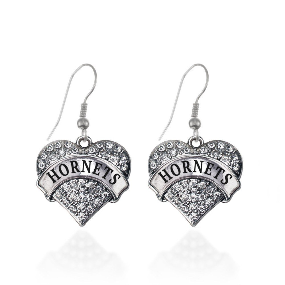 Hornets Pave Heart Earrings French Hook Clear Crystal Rhinestones