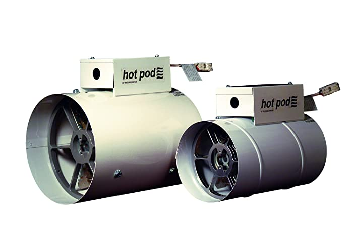 """TPI HP610001202T Hotpod Supplemental Duct Mounted Heating System, Standard, 6"""" Inlet, Hardwire, 1000/500 W"""
