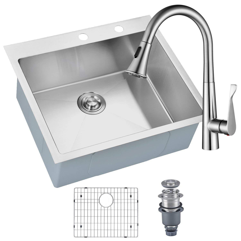 Mowa hmt2522 25 x 22 pro series handmade 16 gauge stainless steel top mount drop in single bowl kitchen sink w sink bottom grid basket strainer