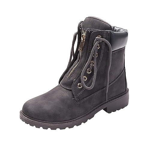 Zapatos de Punta Redonda Botas de Nieve del Estudiante Botines Casuales de Mujeres con Cordones de Cremallera de Encaje Sólido Escarpines Zapatos Camper ...