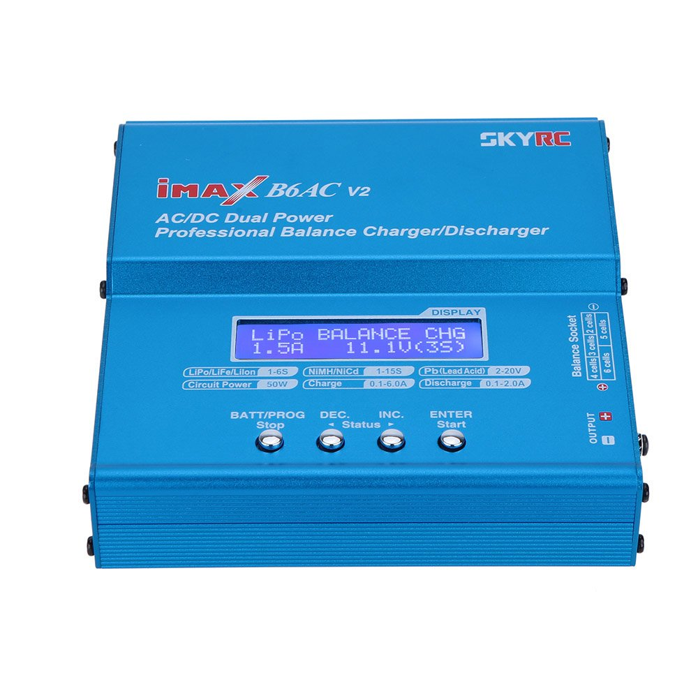 SKYRC B6AC V2 Dual Power (6Amps, 50Watts): LiPo, LiIon, Life, NiCd, NiMH, Pb Lead Acid AC/DC Professional RC Balancing Battery Charger & Discharger (Version 2) w/ Micro USB Port, Temperature Port,