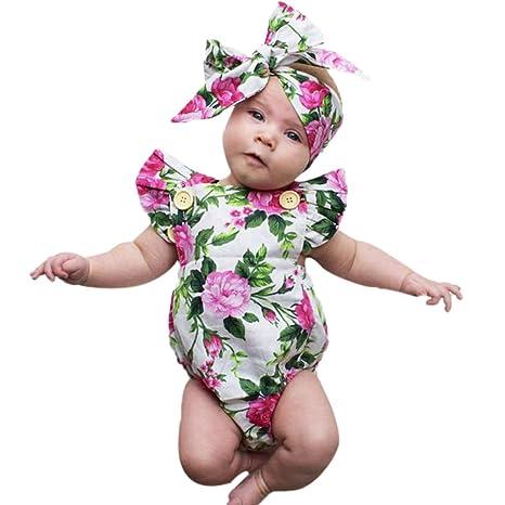 domybest para bebé sin mangas floral Pelele bebé niña verano Mono Diademas trajes Talla:12