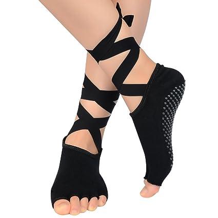 SOUMIT Calcetines Antideslizantes de Yoga (Negro) - Almohadillas de Pie de Algodón Mejor con