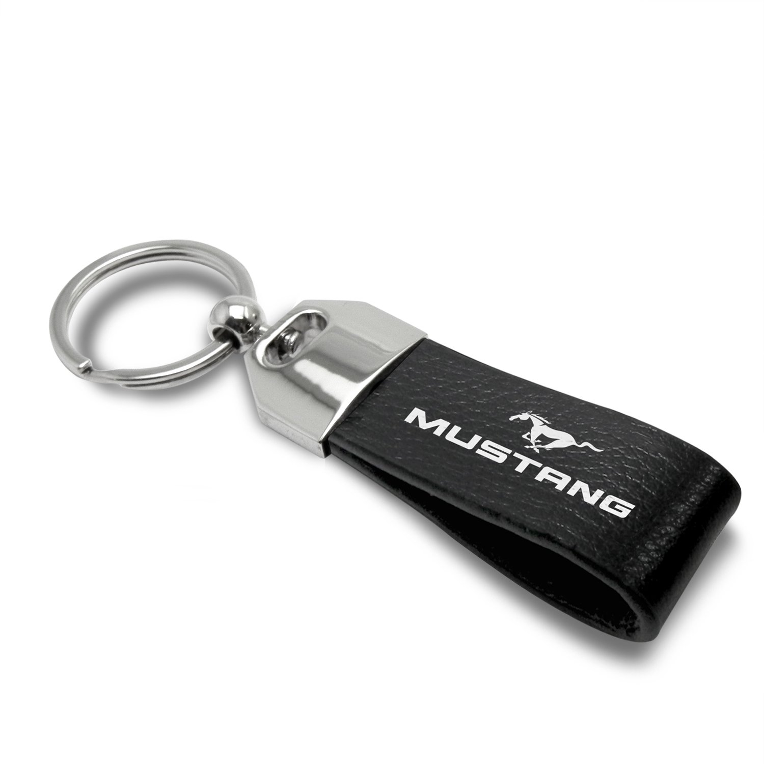 Large Genuine Black Leather Loop Strap Key Chain Ford Mustang