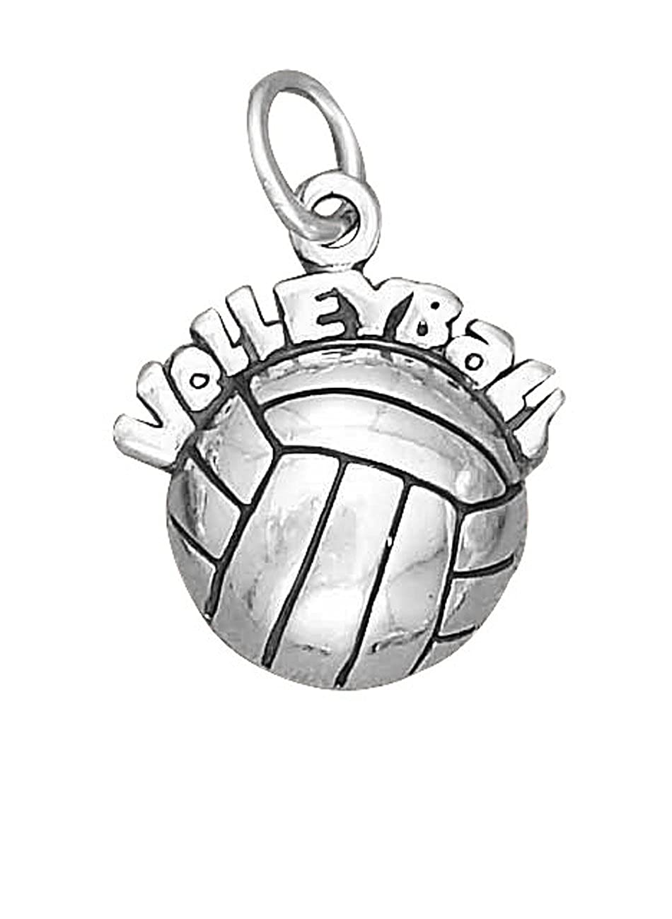 Sterling Silver Womens 1mm Box Chain HOLLOW BACKVolleyball Over A Volleyball Pendant Necklace
