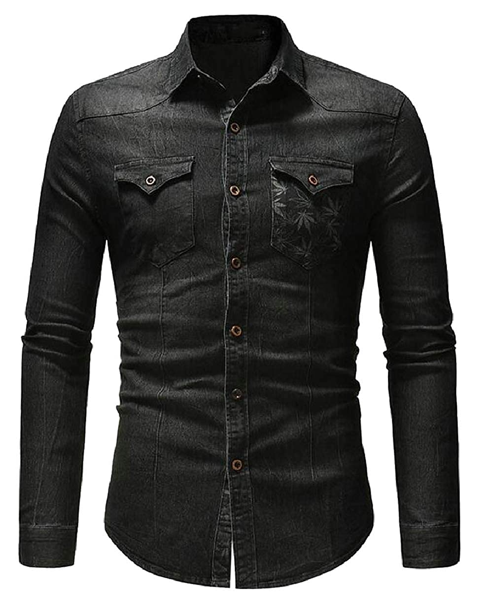 YIhujiuben Mens Casual Long Sleeve Lightweight Denim Button Down Shirts Tops