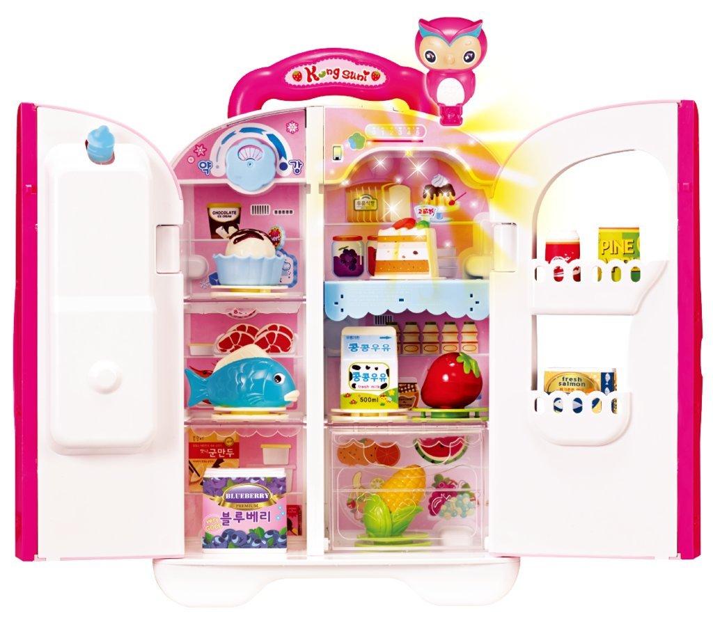KONGSUNI Serie Sprechen Kühlschrank für Kinder, herauskommt Spielzeug Wasserspender Spielzeug Kühlschrank Spielzeug Lebensmittel Set Echtes Wasser.