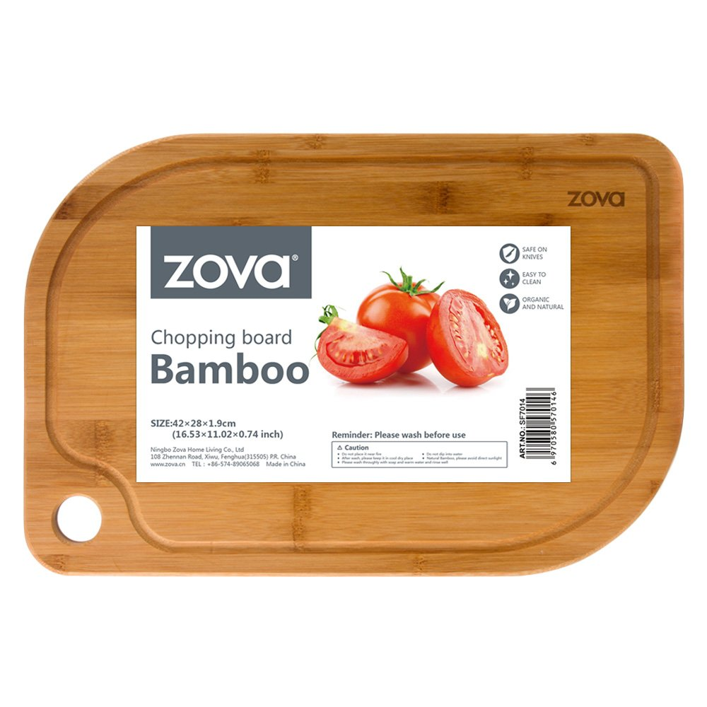 zova Heavy Duty Non Slip Bamboo Cutting Board with Juice Groove, Size Medium 14 x 9.4 x 0.75 SF7015