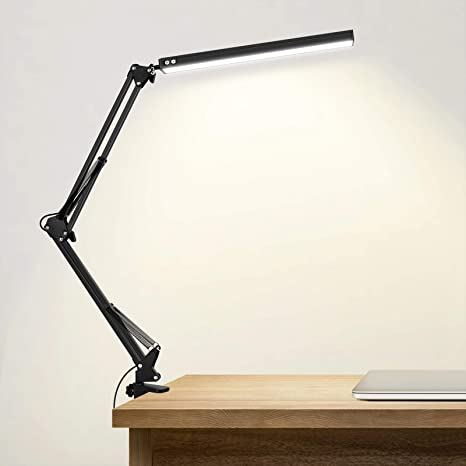 Amazon Com Led Desk Lamp With Clamp Adjustable Swing Arm Desk Lamp 10w Eye Care Dimmable Office Light 3 Color Modes 10 Brightness Levels Modern Architect Table Lamp For Study Reading Office Work Black Home Improvement