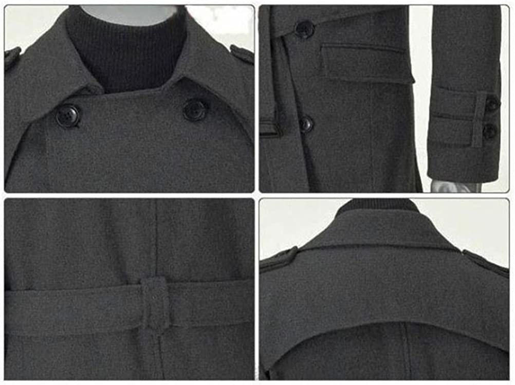 Mens Double Breasted Peacoat Trench Coat Slim Fit Long Jacket Overcoat