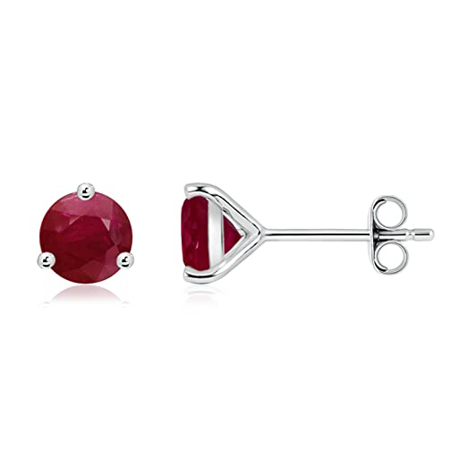 Angara Round Natural Ruby Martini Studs in 14k White Gold uDqOleE
