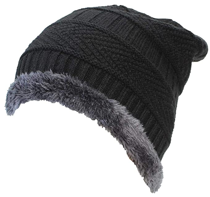 369b5c80fac Best Winter Hats Adult Insulated Stockinette Knit Beanie W Faux Fur Liner -  Black