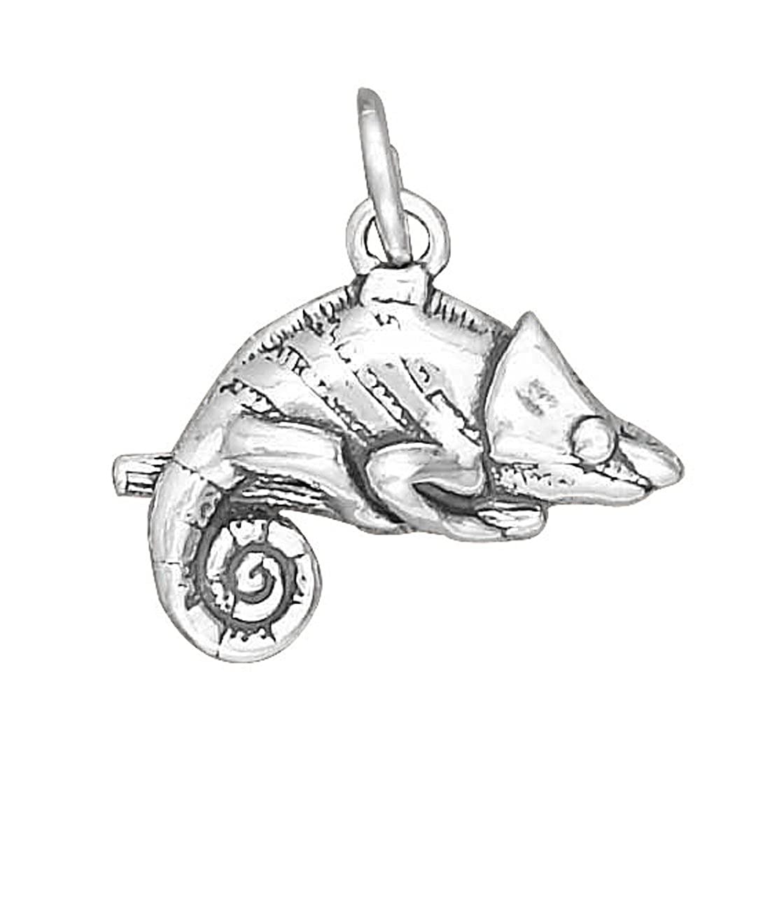 Sterling Silver Girls .8mm Box Chain 3D Chameleon Pendant Necklace On Branch