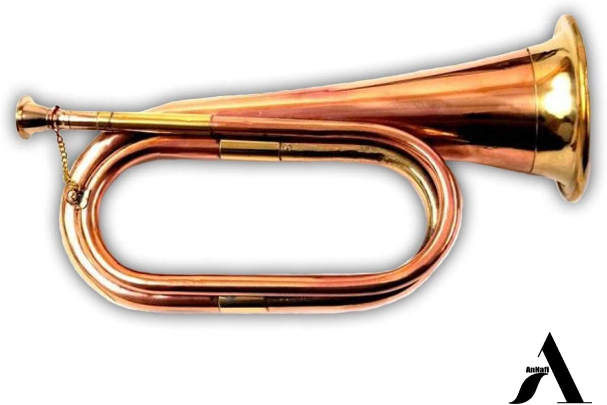 AnNafi Solid Copper & Brass Bugle| US Military Cavalry Horn | Musical Instrument Classic Style |Boy Scout Bugle | Army Military Attack War Command Signal Horn