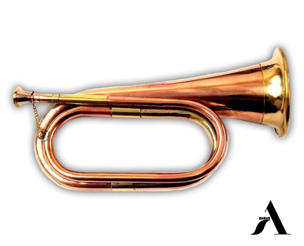 AnNafi Solid Copper & Brass Bugle| US Military Cavalry Horn | Musical Instrument Classic Style |Boy Scout Bugle | Army Military Attack War Command Signal Horn by AnNafi