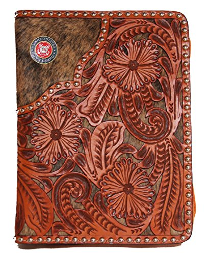 Custom 3D Belt Co. United States Coast Guard Hand Tooled Leather over Natural Hair Bible (Coast Guard Boots)