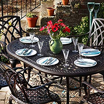 Lazy Susan - Table ovale 150 x 95 cm JUNE et 4 chaises de jardin ...